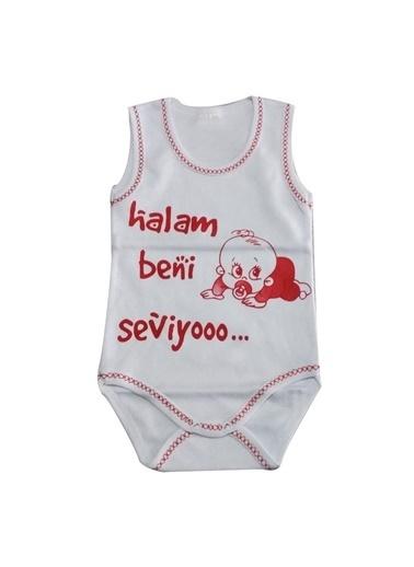 By Bebek Odam By Bebek Odam U Yaka Pamuk Yazı Baskılı Kırmız  Bebek Zıbın Renkli
